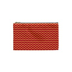 Chevron Wave Red Orange Cosmetic Bag (small)  by Mariart