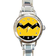 Chevron Wave Yellow Black Line Round Italian Charm Watch by Mariart