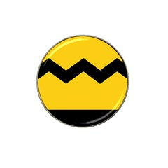 Chevron Wave Yellow Black Line Hat Clip Ball Marker (4 Pack) by Mariart
