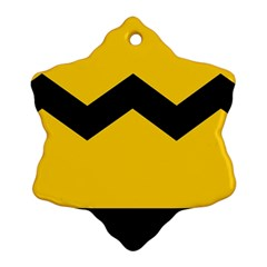 Chevron Wave Yellow Black Line Snowflake Ornament (two Sides) by Mariart