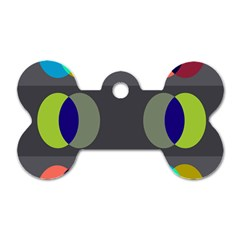 Circles Line Color Rainbow Green Orange Red Blue Dog Tag Bone (two Sides) by Mariart