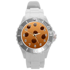 Cookie Chocolate Biscuit Brown Round Plastic Sport Watch (l) by Mariart
