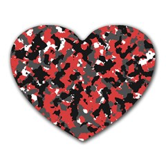 Bloodshot Camo Red Urban Initial Camouflage Heart Mousepads by Mariart