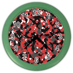 Bloodshot Camo Red Urban Initial Camouflage Color Wall Clocks by Mariart
