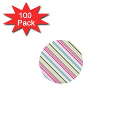 Diagonal Stripes Color Rainbow Pink Green Red Blue 1  Mini Buttons (100 Pack)  by Mariart