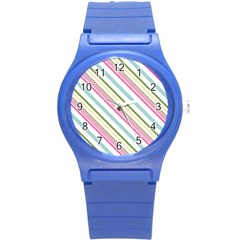 Diagonal Stripes Color Rainbow Pink Green Red Blue Round Plastic Sport Watch (s) by Mariart