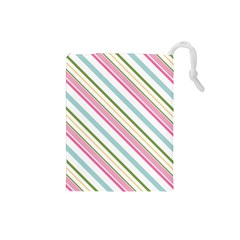 Diagonal Stripes Color Rainbow Pink Green Red Blue Drawstring Pouches (small)  by Mariart