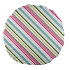 Diagonal Stripes Color Rainbow Pink Green Red Blue Large 18  Premium Flano Round Cushions by Mariart