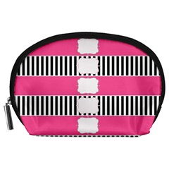 Custom Water Bottle Labels Line Black Pink Accessory Pouches (large)  by Mariart