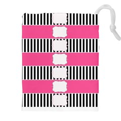 Custom Water Bottle Labels Line Black Pink Drawstring Pouches (xxl) by Mariart