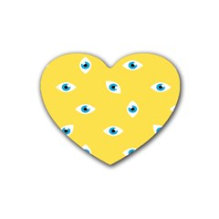 Eye Blue White Yellow Monster Sexy Image Rubber Coaster (heart)  by Mariart