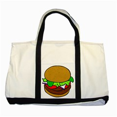 Fast Food Lunch Dinner Hamburger Cheese Vegetables Bread Two Tone Tote Bag by Mariart