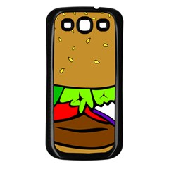 Fast Food Lunch Dinner Hamburger Cheese Vegetables Bread Samsung Galaxy S3 Back Case (black) by Mariart