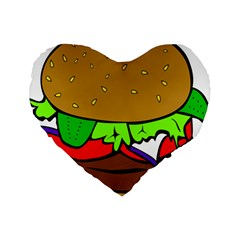Fast Food Lunch Dinner Hamburger Cheese Vegetables Bread Standard 16  Premium Flano Heart Shape Cushions by Mariart