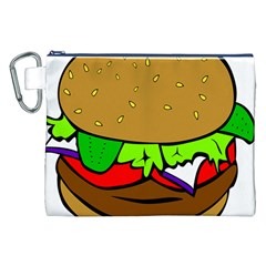 Fast Food Lunch Dinner Hamburger Cheese Vegetables Bread Canvas Cosmetic Bag (xxl) by Mariart