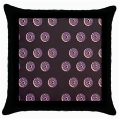 Donuts Throw Pillow Case (black) by Mariart