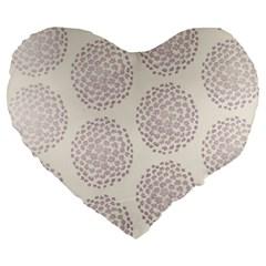 Flower Floral Star Sakura Purple Large 19  Premium Flano Heart Shape Cushions by Mariart