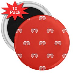 Glasses Disco Retina Red White Line 3  Magnets (10 Pack)  by Mariart