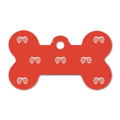 Glasses Disco Retina Red White Line Dog Tag Bone (two Sides) by Mariart
