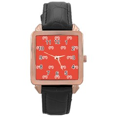 Glasses Disco Retina Red White Line Rose Gold Leather Watch  by Mariart