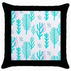 Forest Drop Blue Pink Polka Circle Throw Pillow Case (black) by Mariart