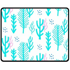Forest Drop Blue Pink Polka Circle Double Sided Fleece Blanket (medium)  by Mariart