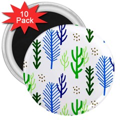 Forest Green Drop Blue Brown Polka Circle 3  Magnets (10 Pack)  by Mariart