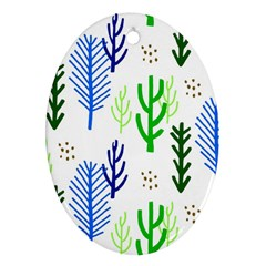 Forest Green Drop Blue Brown Polka Circle Oval Ornament (two Sides) by Mariart