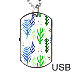 Forest Green Drop Blue Brown Polka Circle Dog Tag Usb Flash (two Sides) by Mariart