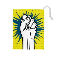 Hand Polka Dot Yellow Blue White Orange Sign Drawstring Pouches (large)  by Mariart