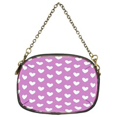 Heart Love Valentine White Purple Card Chain Purses (two Sides)  by Mariart