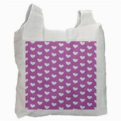 Heart Love Valentine White Purple Card Recycle Bag (one Side) by Mariart