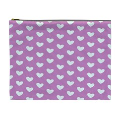 Heart Love Valentine White Purple Card Cosmetic Bag (xl) by Mariart