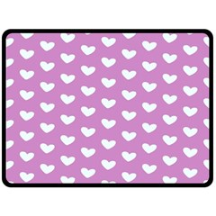Heart Love Valentine White Purple Card Double Sided Fleece Blanket (large)  by Mariart