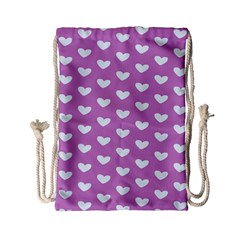 Heart Love Valentine White Purple Card Drawstring Bag (small) by Mariart