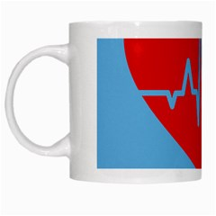 Heartbeat Health Heart Sign Red Blue White Mugs by Mariart