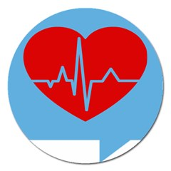 Heartbeat Health Heart Sign Red Blue Magnet 5  (round) by Mariart