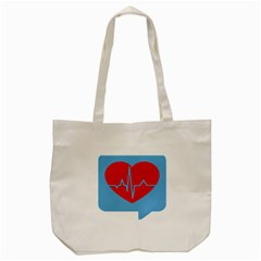 Heartbeat Health Heart Sign Red Blue Tote Bag (cream) by Mariart