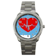 Heartbeat Health Heart Sign Red Blue Sport Metal Watch by Mariart