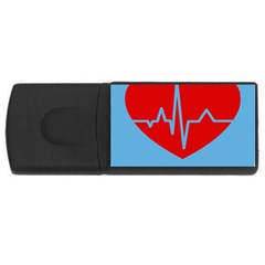 Heartbeat Health Heart Sign Red Blue Usb Flash Drive Rectangular (4 Gb) by Mariart