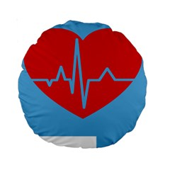 Heartbeat Health Heart Sign Red Blue Standard 15  Premium Round Cushions by Mariart