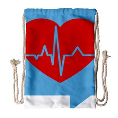 Heartbeat Health Heart Sign Red Blue Drawstring Bag (large) by Mariart
