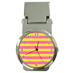 Horizontal Pink Yellow Line Money Clip Watches by Mariart