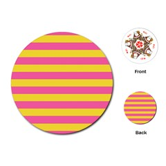Horizontal Pink Yellow Line Playing Cards (round)  by Mariart