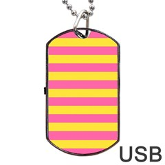 Horizontal Pink Yellow Line Dog Tag Usb Flash (one Side) by Mariart
