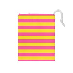 Horizontal Pink Yellow Line Drawstring Pouches (medium)  by Mariart