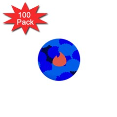 Image Orange Blue Sign Black Spot Polka 1  Mini Buttons (100 Pack)  by Mariart