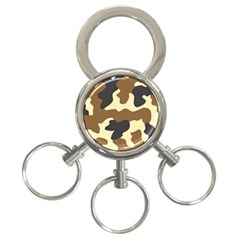 Initial Camouflage Camo Netting Brown Black 3 Ring Key Chains by Mariart