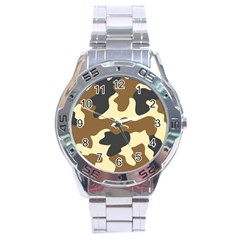 Initial Camouflage Camo Netting Brown Black Stainless Steel Analogue Watch by Mariart