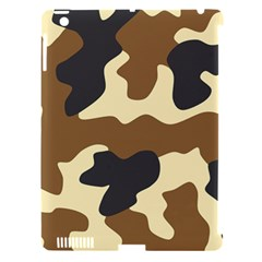 Initial Camouflage Camo Netting Brown Black Apple Ipad 3/4 Hardshell Case (compatible With Smart Cover) by Mariart